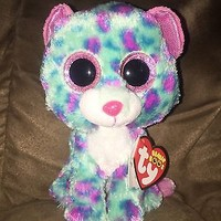 """TY BEANIE BABY BEANIE BOO~SYDNEY LEOPARD 6""""& 3"""" CLIP SET~2015 CLAIRES EXCLUSIVE"""