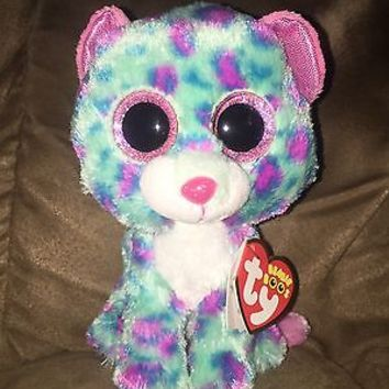 "TY BEANIE BABY BEANIE BOO~SYDNEY LEOPARD 6""& 3"" CLIP SET~2015 CLAIRES EXCLUSIVE"