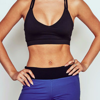 STRAPPY MESH PANELED RACERBACK SPORTS BRA - PROMO 60% OFF
