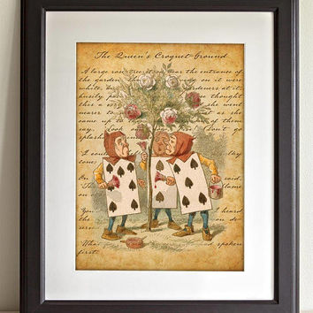 Alice in Wonderland Wall Art Poster - The Queen's Croquet-Ground - Nursery Home Decor - Color Childrens Illustration - 11x14 Unframed Print