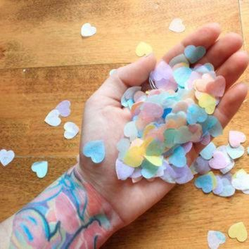 CREYON heart confetti valentines day party decor pastel rainbow conversation heart cand