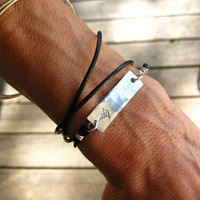 Medical Alert Leather Wrap Bracelet with Personalized Pewter Plate and Birthstone
