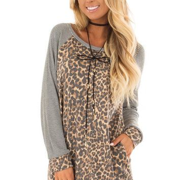 Leopard Print Top with Stripe Raglan Detail and Pockets