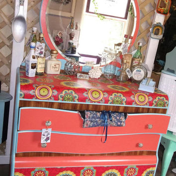 Vintage Antique Hand Painted and Fabric Decoupaged Art Deco Waterfall Dresser with Mirror