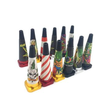 NEW Mini  Road cone Metal Pipe port til Creative gifts hookah hookah smoking Grass Weed Grinder Tobacco Smoke pipe Free Delivery