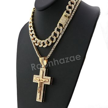 Hip Hop Iced Out Quavo Jesus Crucifix Miami Cuban Choker Tennis Chain Necklace L18