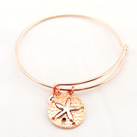 Women's Rose Gold Sand Dollar Bangle Bracelet
