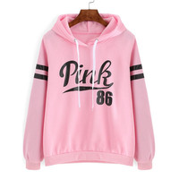 Pink Drawstring Hooded Letters Print Long Sleeve Sweatshirt
