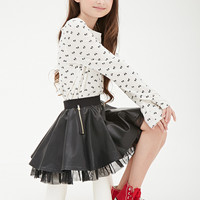 Zippered Faux Leather & Tulle Skirt (Kids)