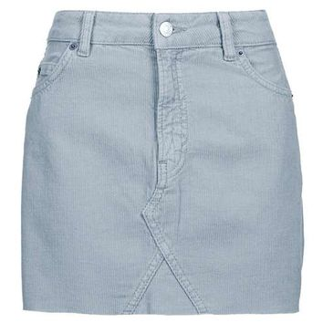 MOTO Cord Highwaisted Skirt - Denim - Clothing