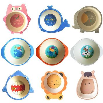 Natural Bamboo Fiber Bowls - Cute Cartoon Baby Dishes