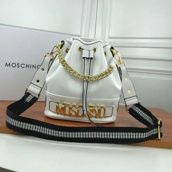 MOSCHINO WOMEN'S LEATHER BUCKET INCLINED SHOULDER BAG-KUYOU