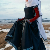 "Womens Medieval Dress ""Red Sleeves""; historic dress; sca dress; wool dress"