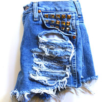 Destroyed  high waisted studded denim shorts