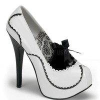 Bordello Teeze White and Black Patent Stilettos