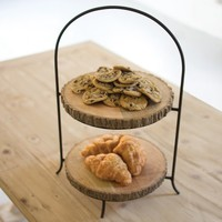 Two Tiered Pine And Metal Display Stand