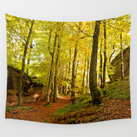 Rocky forest in the fall Wall Tapestry by Pirmin Nohr