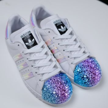 Adidas Fashion Casual Shamrock SUPERSTAR metal shell head shining shoes White+rainbow toe cap Black G