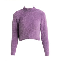 Turtle Neck Long Sleeve Mohair Knitted Fluffy Crop Sweater in Purple