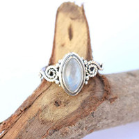 moonstone ring ,moon stone silver ring,  silver rainbow ring, stone ring, 92.5 sterling silver,silver ring, moon stone Silver Ring, RNSLMN5