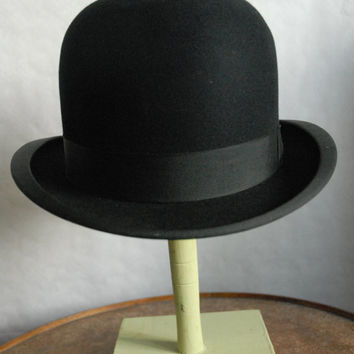 Vintage 20's Bowler Derby Black Felt Hat by John B. Stetson UK 6 7/8