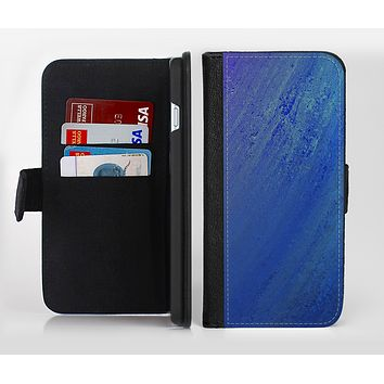 The Pastel Blue Surface Ink-Fuzed Leather Folding Wallet Credit-Card Case for the Apple iPhone 6/6s, 6/6s Plus, 5/5s and 5c