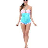QUEEN OF HEARTZ Blue & Pink Polka Dot & Stripes Halter Swimsuit - Unique Vintage - Prom dresses, retro dresses, retro swimsuits.