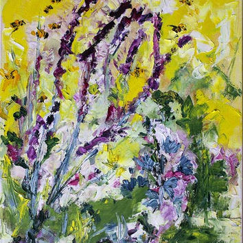 Summer Lavender and Bees Provence Oil Painting