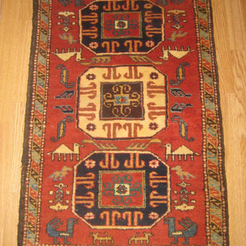 Semi Antique Cute Handwoven rug, Tribal Azerbaijan Rug, wool rug,