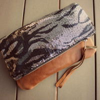 Sequin and leather fold over clutch, animal print, sequin clutch