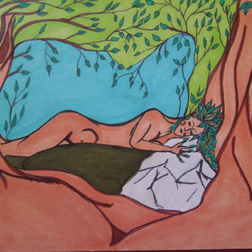 Sleeping Dryad Original Illustration on Cardstock SFA