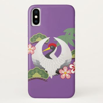Japanese Lucky Symbols White Crane Bird Purple iPhone X Case