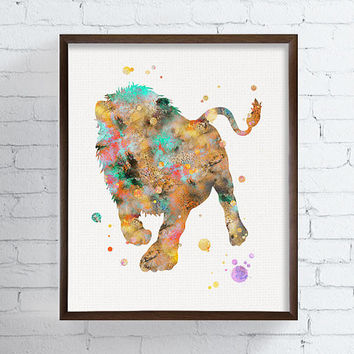 Lion Art Print, Watercolor Lion, Lion Wall Art, Lion Poster, Lion Painting, African Animals, Wildlife, Animal Wall Decor, Kids Room, Nursery