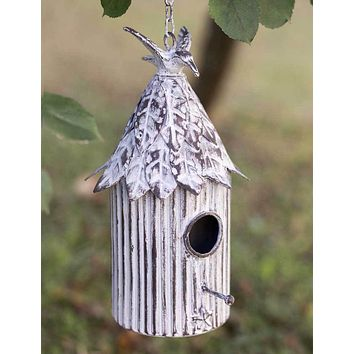 White Distressed Country Style Yard Garden Hanging Cabana Birdhouse Outdoor