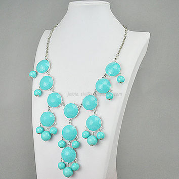 Turquoise Necklace Silver Tone Necklace Bubble by GemPearls