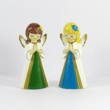 Mid-Century Homco Angel Figurines, Christmas Decor, Kitschmas, Blue Green Blonde Brunette, Whimsical Figurines