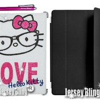 stylusFaux Pearl KITTY iPad 2, 3 or 4 Crystal & Rhinestone Case/Smart Cover Combo (1 Smart Cover, 1 Plastic Snap on Back Case/Cover & 1 Jersey Bling® Stylus)