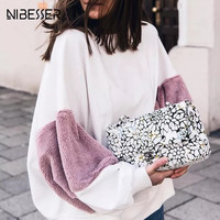 NIBESSER Spring Autumn Patchwork Bts Sweatshirt Women Fashion Loose Full Lantern Sleeve Hoodies Ladies Solid Kpop Pullovers