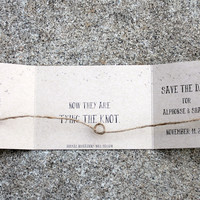 Rustic Tying the Knot Save the Dates ~ set of 25