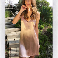 REVERSE SLIP CHOKER DRESS- ROSE GOLD