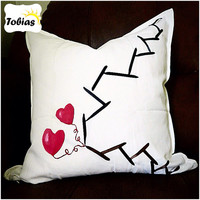 Abstract-minimalist-oil paint- happy ending-valentine-hand painted-ribbon embroidery-hearts-black & white-cotton canvas pillow cover