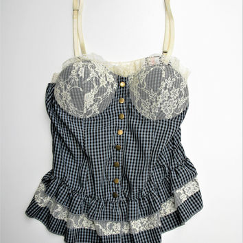By Deep Los Angeles Lace Ruffle Check Print Bustier Camisole S