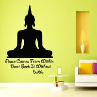 Wall Decals Buddha Quote Peace Comes From Within Don't Seek It Without Yoga Meditation Decal Vinyl Sticker Gym Bedroom Living Room Decor Home Interior Design Art Murals