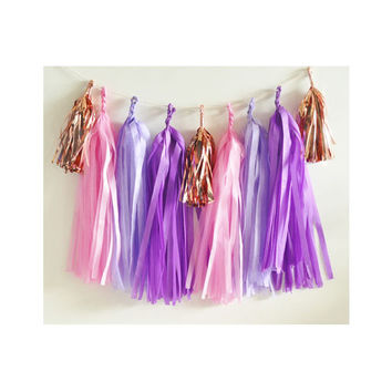 Paper Garland & Metallic Mini Tassels - 20 Tassel DIY Kit - Candy Pink, Lilac, Purple, Rose Gold Foil - Wedding Decor Party Bridal Shower