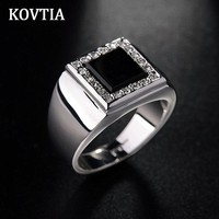 KOVTIA New Design Men's Promise Rings Smooth Surface Custom Engagement Jewelry AAA Austrian Crystal Wedding Bands for Men 113635