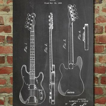Fender Precision Bass Guitar Patent Poster