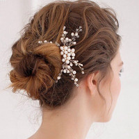 Metting Joura Wedding Party Romantic Handmade Knitted Pearl With Beads Hair Comb Hair Accessories Bride Hair Jewelry