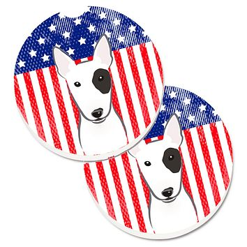 American Flag and Bull Terrier Set of 2 Cup Holder Car Coasters BB2139CARC