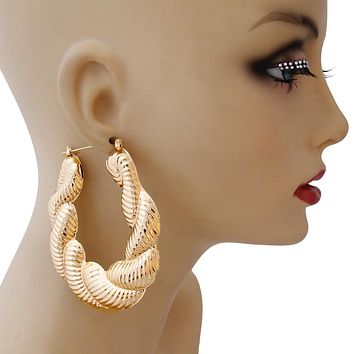Large Gold Twisted Rope Hoop Earrings