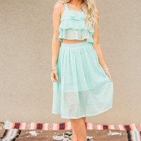 Eyelet Skirt Two-Piece Set